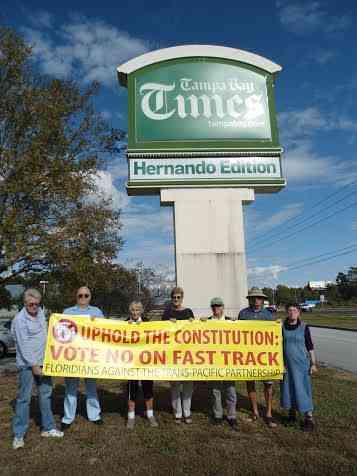Brooksville to Congress: Vote No on Fast Track!