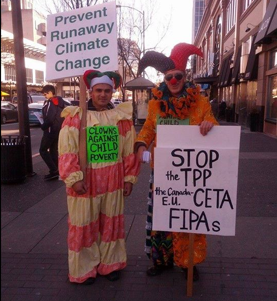 Canadian Clowns Take To Streets To Stop Rigged Trade Agreements