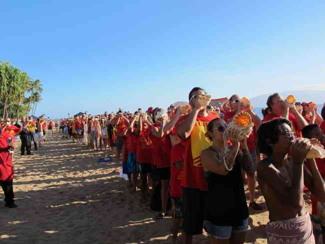HAWAI'I ACTIVISTS BREAK WORLD RECORD FOR CONCH SHELL BLOW, REVERBERATING A GLOBAL KAHEA (CALL) TO STOP THE TPP