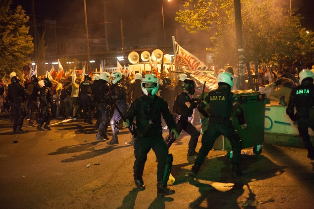 Police repression of anti-austerity protests in Greece a few days ago. Photo: Vice
