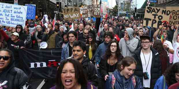 Thousands Of Anti-TPP Protesters Rally In New Zealand
