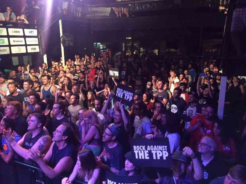 Massive crowd, giant blimp, protests Trans-Pacific Partnership at Rock Against the TPP tour kick-off in Denver