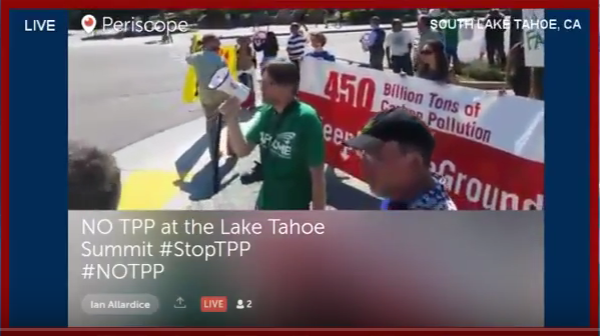 Lake Tahoe: TPP Protest of President Obama